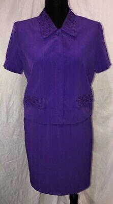 Womens A Studio by Pat Argenti Skirt Suit Set Size 8 Purple Short Sleeve (Short Sleeve Suits Womens)