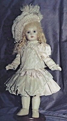 """14""""ANTIQUE FRENCH JUMEAU-GERMAN DOLL LOW-WAIST LACE TRIM DRESS BONNET PATTERN for sale  Shipping to India"""