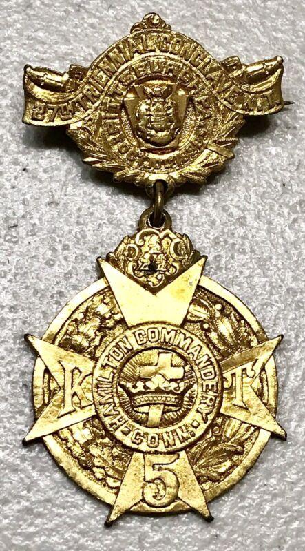 1898 RARE 27T CONCLAVE MASONIC HAMILTON COMMANDERY PITTSBURGH MEDAL PIN BADGE