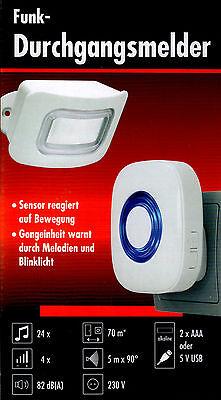 Funk Durchgangsmelder Bewegungsmelder Ladentür Alarmfunktion 82dB Blinksignal