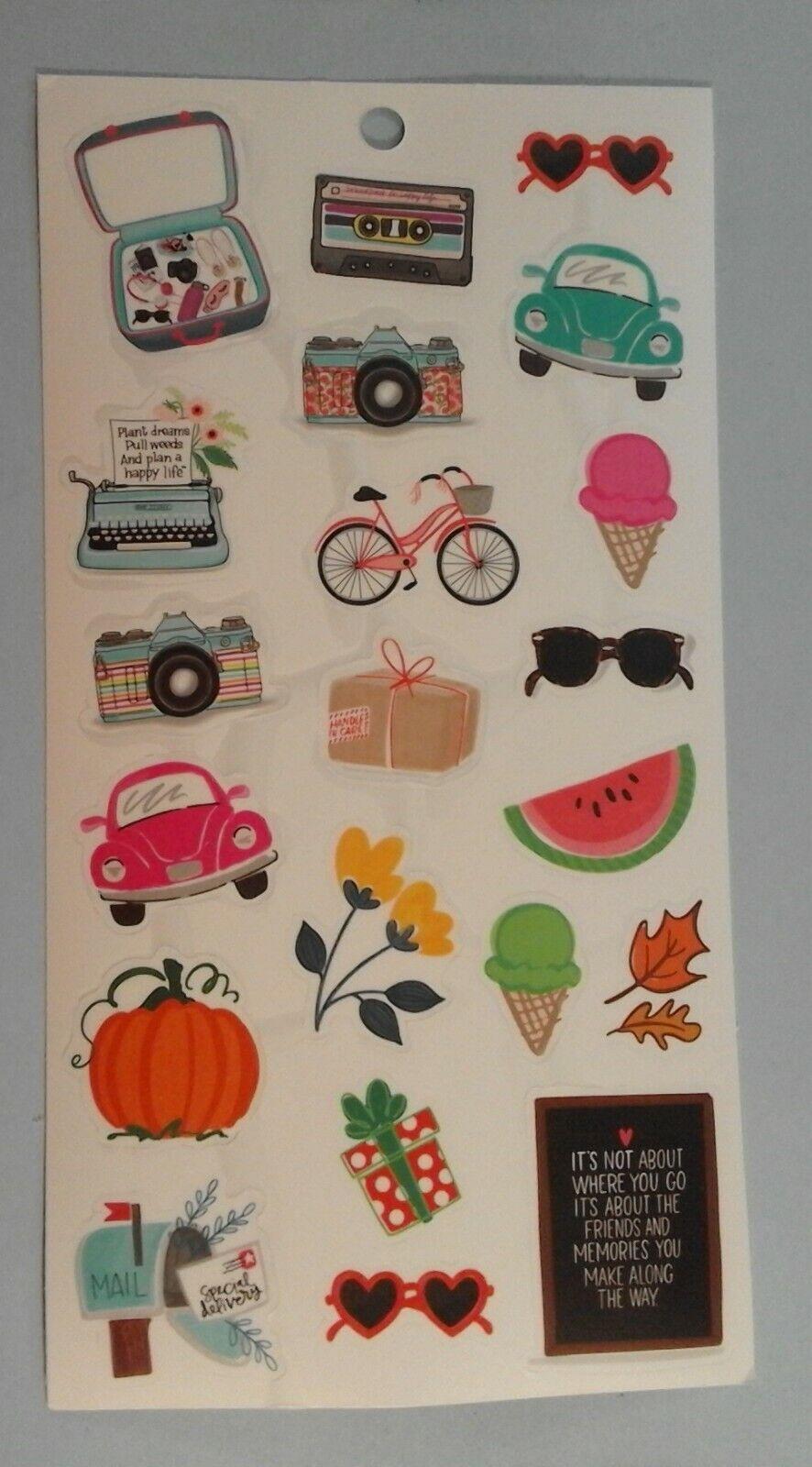Happy Planner Luggage Camera Car Ice Cream Flower Pumpkin MAMBI Stickers 262067 - $1.00