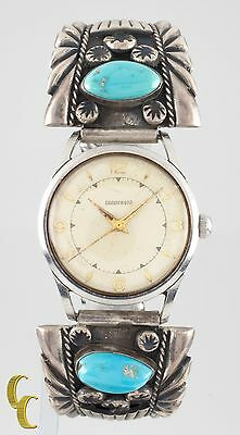Harry Morgan Sterling Silver Navajo Turquoise Band Gunderson Watch