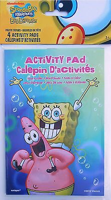Activity Pads Party Favors (Party Favors SPONGEBOB Activity Pads Birthday Loot Bag Filler 4 Pack )