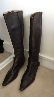 Leather women's brown boots size 41