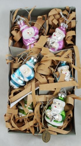 Pastel Santa Claus with Star & Flying Glass Christmas Ornaments Katherine