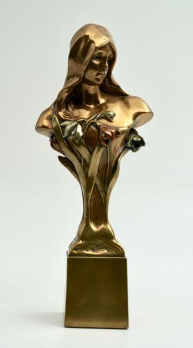 Vintage Art Nouveau Female Bronze Bust Floral Design On Signed Limited Edition