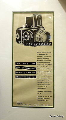 Original Vintage Advertisement mounted ready to frame Hasselblad Camera 1950