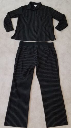 Mimi Maternity Pinstripe Outfit Size Large Shirt Pants Black Brown Stripes Suit