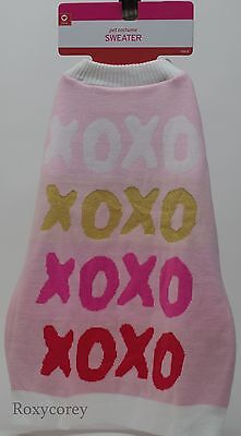 XOXO Pink & White Dog Pet Costume Sweater Size Xlarge up to 100 lbs NWT