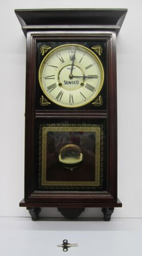 Sunoco Advertising Dealer Incentive Wooden Wood Chiming Regulator Wall Clock