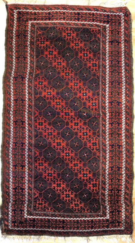 Beautiful Balouch - 1930s Antique Persian Rug - Tribal Oriental Carpet 3.6 X 6.2