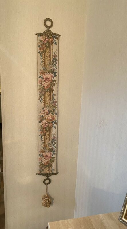 Vintage Corona Decor Co. Embroidered Brocade Bell Pull Tapestry Wall Hanging