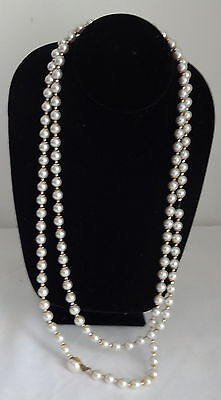 Vintage Retro 30-s Fashion Opera Long Faux Cluster Pearls Necklace