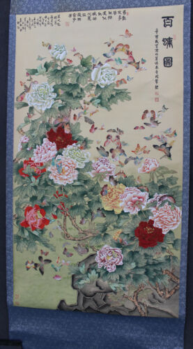 Antique Chinese Butterflies Flowers Roses Hanging Scroll Tapestry Art Painting
