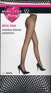 MU 9001 Tights Seamless Pantyhose Fishnet Stockings Black Size Reg or XL Queen
