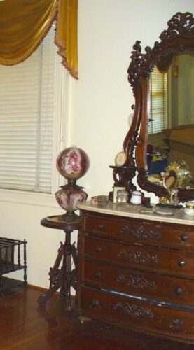 Antique marble top Dresser  & mirror VICTORIAN American  1880