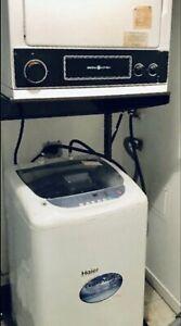 HAIER Portable Washer 1.92CF & GE Dryer 220V w/Stand..canDeliver