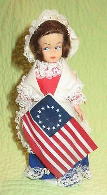 "Vintage 1970s BETSY ROSS Collector 8"" DOLL Figure America Colony Flag"