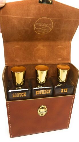 Vintage Leather Portable Bartender With 3 Glass Decanters Scotch / Rye / Bourbon