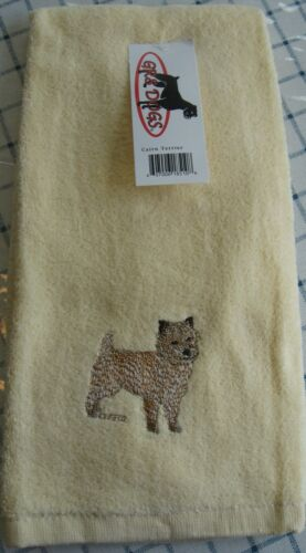 "CAIRN TERRIER EMBROIDERED HAND TOWEL 24"" x 15""- CREAM COLOR -100% COTTON - NWT"