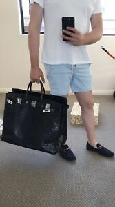 Crocodile embossed black leather luggage bag suitcase Melbourne CBD Melbourne City Preview