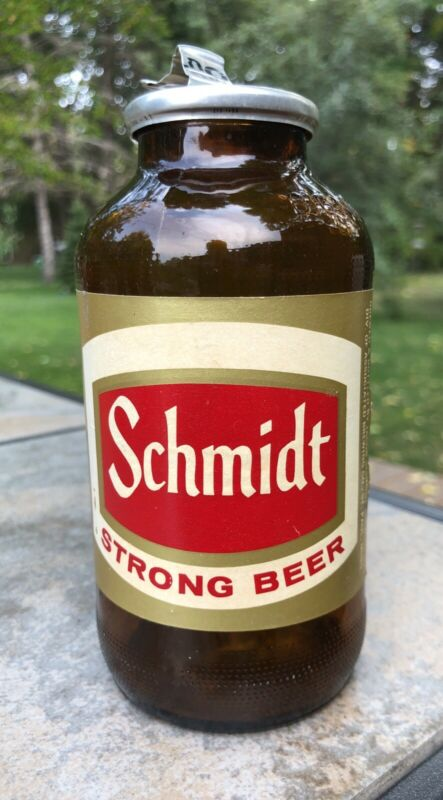 Vintage Schmidt Beer Big Mouth Bottle With With Pull Tab Cap!