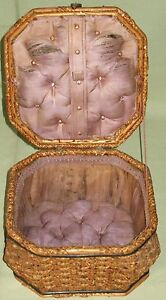 ANTIQUE-SEWING-BOX-BASKET-WOVEN-SPLINT-HINGED-LID-w-HANDLE-ROLL-TUFTED-DIAMONDS