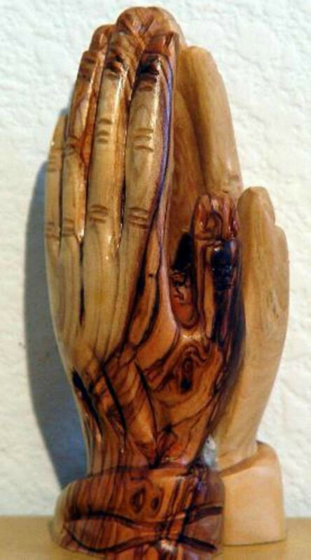 PRAYING HANDS FIGURE OLIVE WOOD FROM HOLY LAND HAND-CARVED