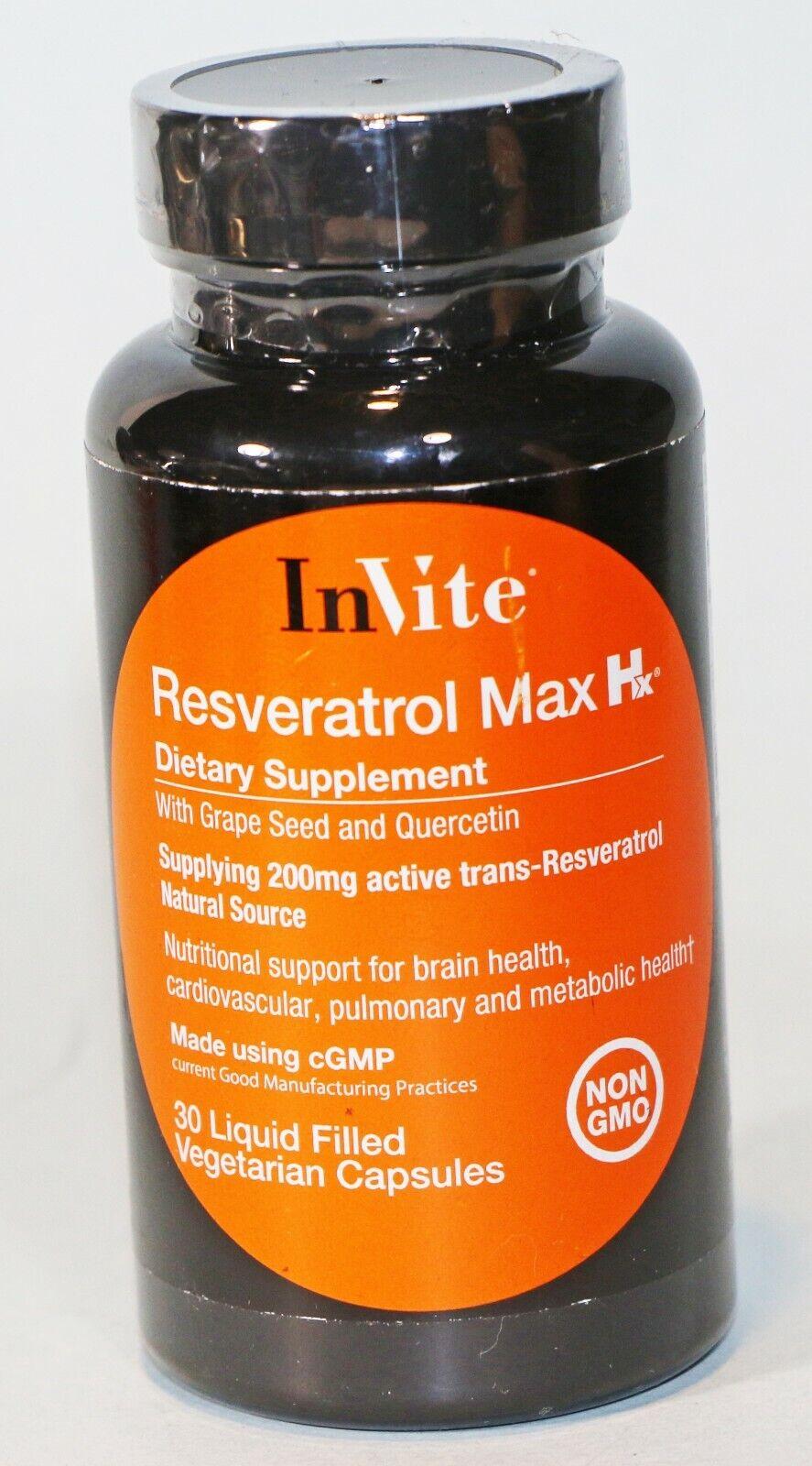 RESVERATROL Max Hx 200mg 30 Liquid Caps InVite Health 11/2022 NON GMO NEW