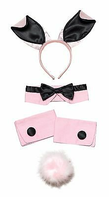 Bunny Girl Pink & Black Play girl Hen Night Rabbit Party Set Fancy Dress (Pink Bunny Girl Kostüm)