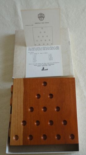 Vtg Box Berea College KY Handmade Wood 6062 Christmas Tree Puzzle Marbles Card