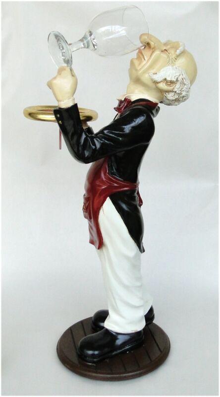 Snobby Butler Statue Wine Waiter Glass in Hand Tuxedo Restaurant Kitchen 2 Foot