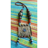 OLD AFRICAN HILL TRIBE AFGHANISTAN BERBER PRAYER BOX GLASS TRADE BEAD NECKLACE