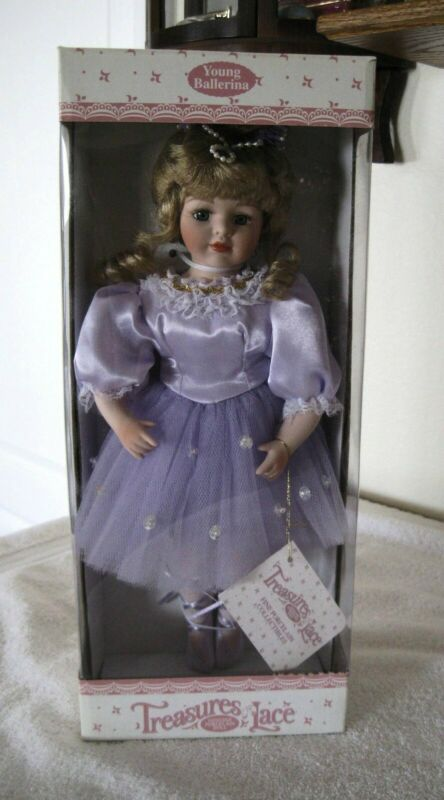 """14"""" Ballerina Porcelain Doll in Lavendar Outfit - Treasures in Lace - Unopened"""