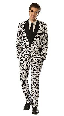 Men's Skull Face Costume Suit Black and White Halloween Tuxedo Medium (Black And White Halloween Costumes For Men)