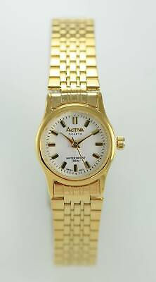 Activa Women Watch White Stainless Steel Gold Water Resistant 30m Battery Quartz