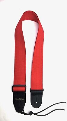Guitar Strap RED NYLON Leather Ends Fits All Acoustic & Electrics Made In U.S.A.