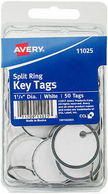 New Avery Split Ring Key Tags White Metal Rim 1.25 50pk