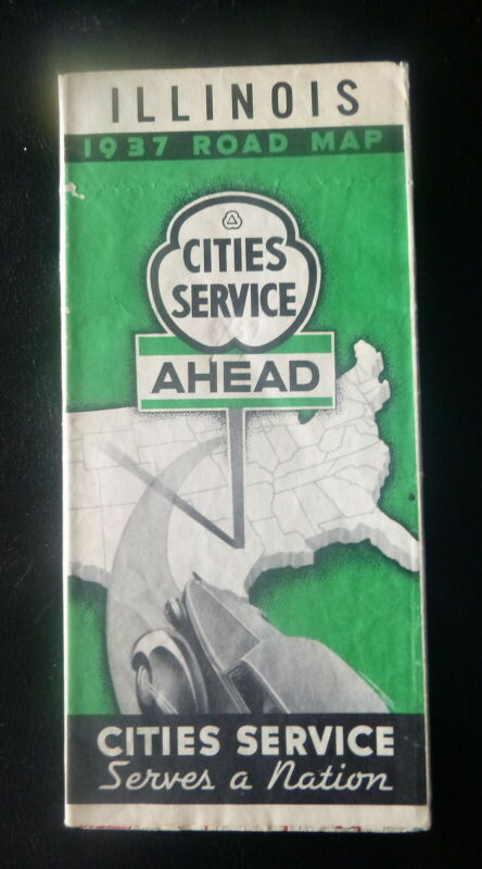 1937 Illinois road map Cities Service gas route 66