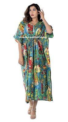 Indio Estampado Noche Vestido Kimono Largo Boho Frida Kahlo Algodón Caftán