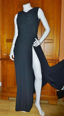 80s Dresses | Casual to Party Dresses VTG 80s VICTOR COSTA Black Jersey High Slit Evening Party maxi DRESS GOWN $127.49 AT vintagedancer.com