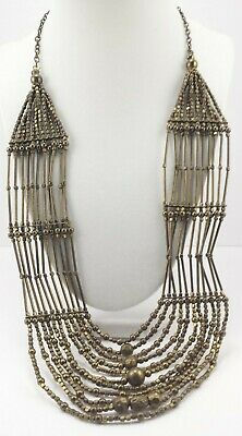 Antiqued Bronze Tone Metal Beaded Multi Strand Tribal Boho Collar Bib Necklace