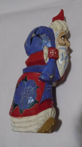 Santa Claus Carved Wooden Figure 9 Inches Tall Floral Painted Christmas Holiday
