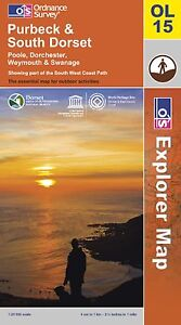 Purbeck South Dorset Poole Dorchester Weymouth & Swanage OL15 Explorer MAP