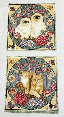2 Pcs Cat Kitty Floral Squares Fabric Panel Blanket Quilt Pillow Top