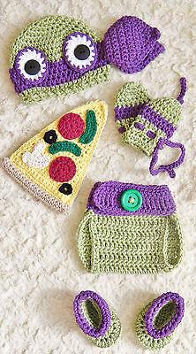 Crochet TMNT Inspired Donatello Ninja Turtle baby Outfit/Costume NB to 3-6 m