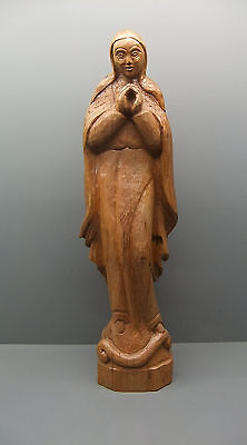 Old Wooden Figure - Holy Mary - Signed