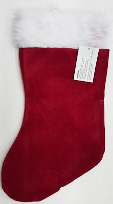Red And White Christmas Stocking (New Red and White Velvet Plush with Furry White Top Christmas Stocking 18)