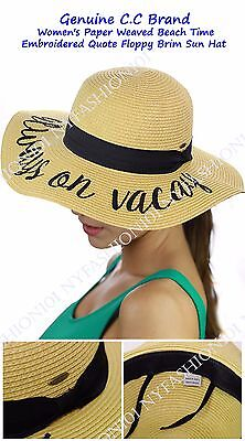 New  Cc Womens Paper Weaved Beach Time Embroidered Quote Floppy Brim Cc Sun Hat