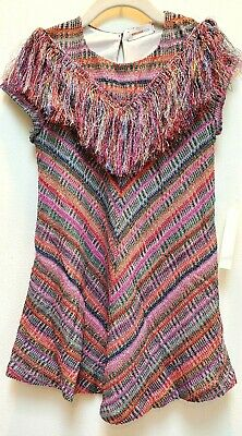 Missoni Italy Big Kids Lame Check Shimmer Short Sleeve Flare Dress Size 8-9
